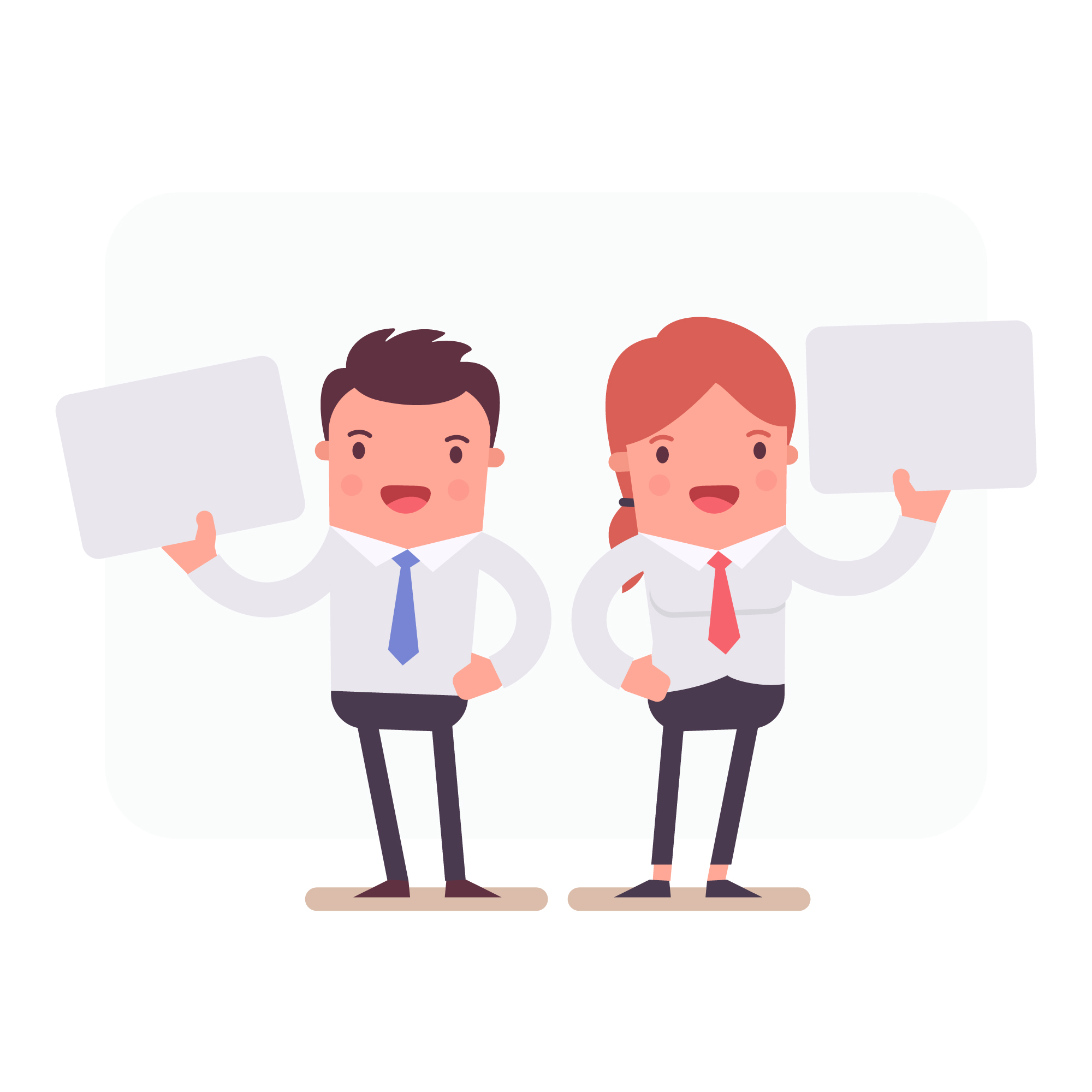Business characters holding papers