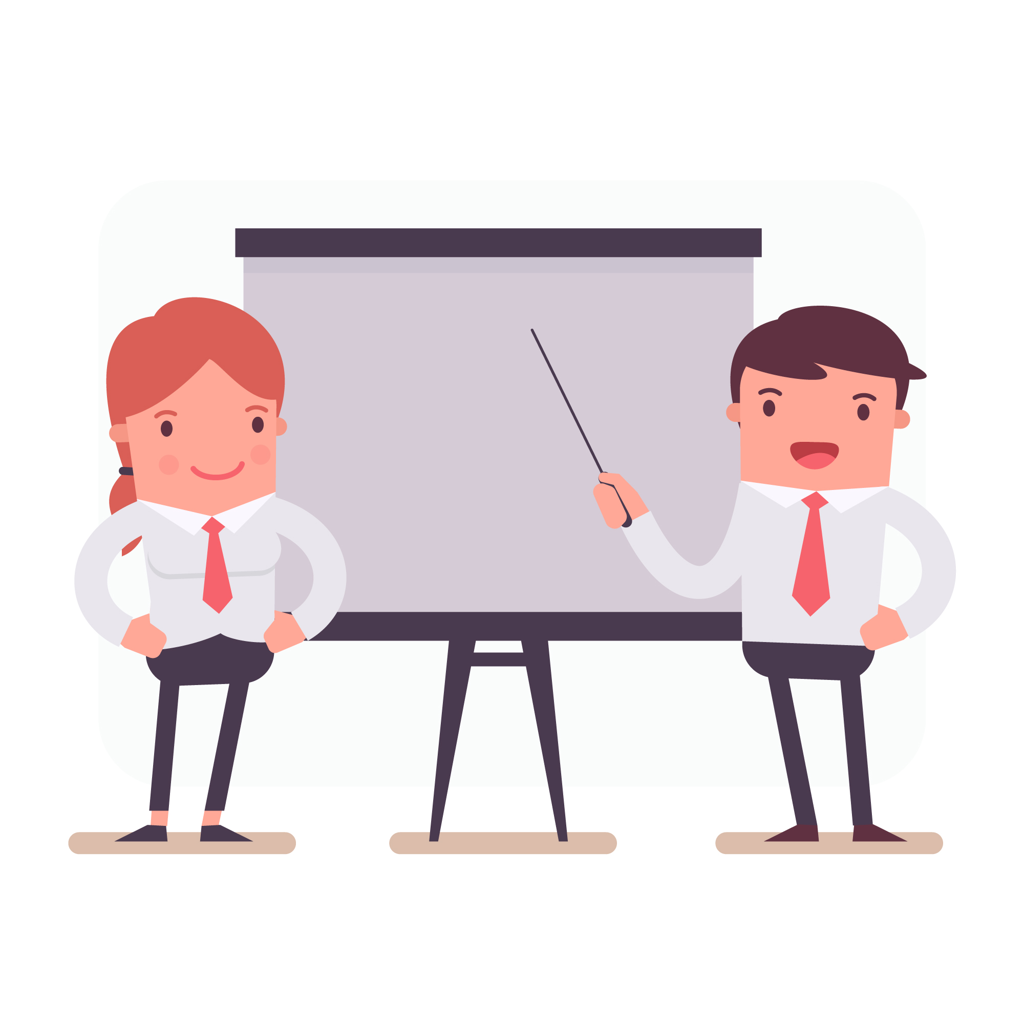 Business characters in a presentation