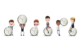 Business characters with clock collection