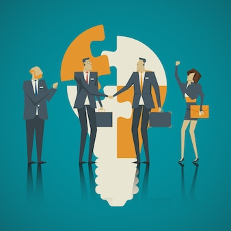 Business concept. Team businessmen welcome new colleagues to be part of a strong team.