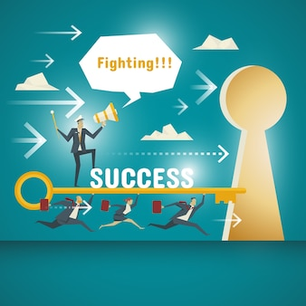Business Concept, team of business professionals committed to carrying the key to unlocking the door to success.