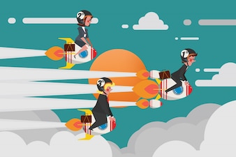 Business Concept, Young Business Group Join a challenging rocket race, Cartoon Character Design flat style