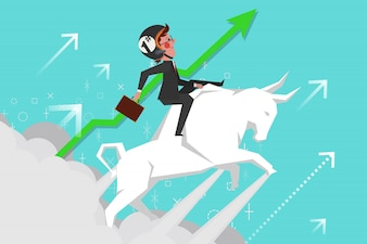 Business Concept, Young businessmen riding bullfights soaring into the sky, Cartoon Character Design flat style