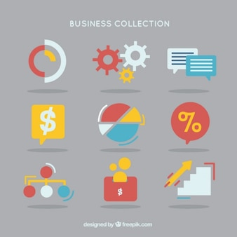 Business element collection in colors and flat design