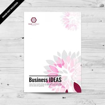 ピンクとグレーの花びらのビジネスチラシデザインテンプレート
