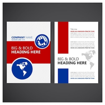 Business flyer red and blue