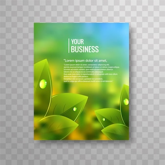 Business flyer template with green leaves