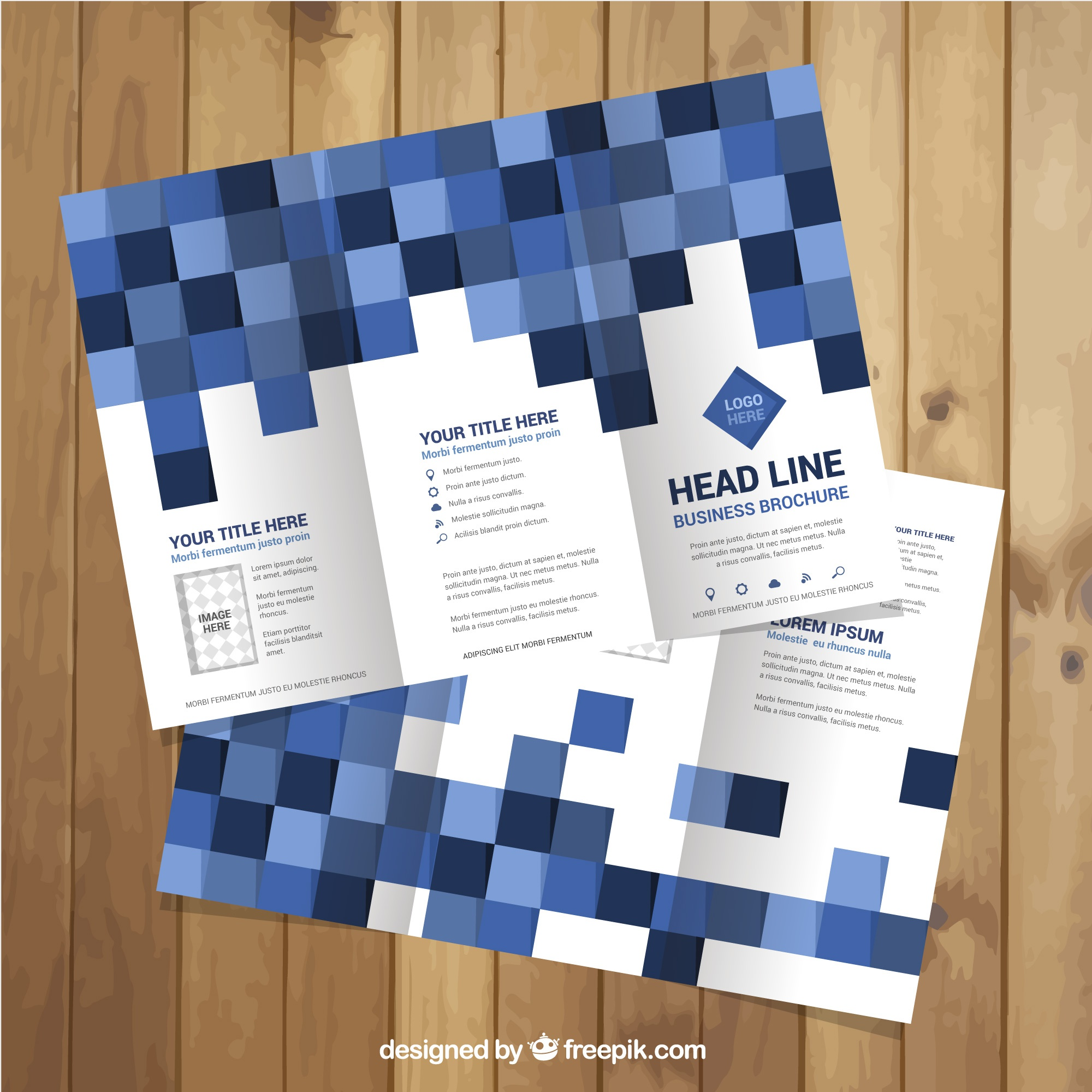 Business flyer template with squares in blue tones