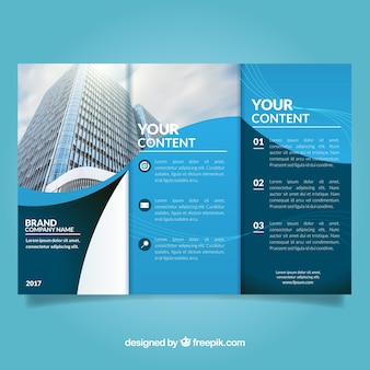 Business flyer with blue wavy forms
