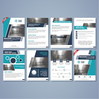 Business flyers with geometric shapes in blue tones