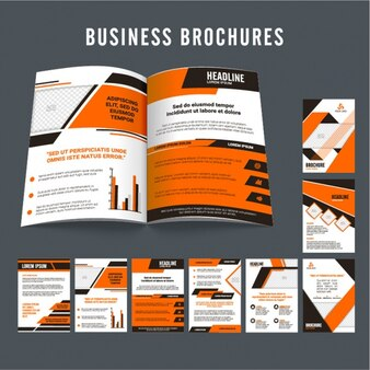 Business flyers with orange elements