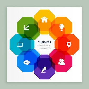 Business infographic octagonal graphic
