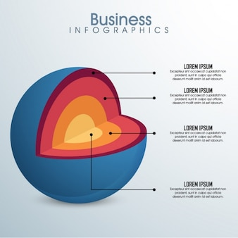 Business infographic of open sphere
