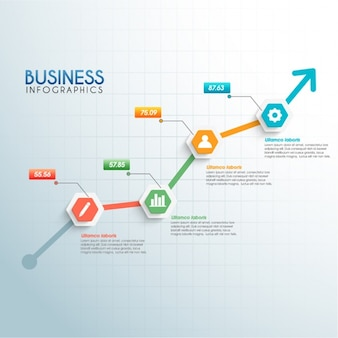 Business infographic template with arrow growing up