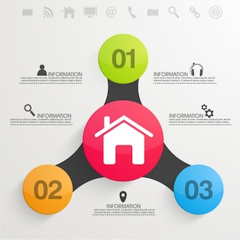 Business infographic template with colorful circles in flat design