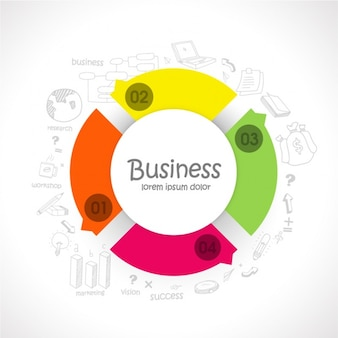 Business infographic template with colorful round shape