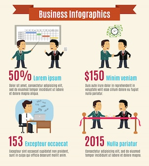 Business infographic template with executives