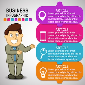 Business Infographic with a Happy Man Cartoon