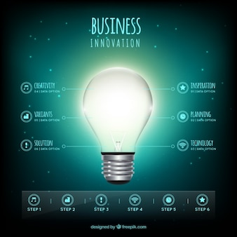 Business infographic with an illuminated bulb