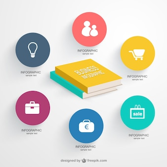 Business infographic with books