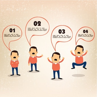 Business infographic with businessman in four postures