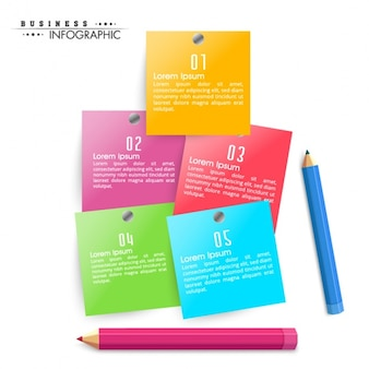 Business infographic with five colorful paper notes