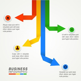 Business infographic with four arrows in different colors