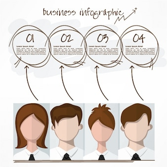 Business infographic with four characters