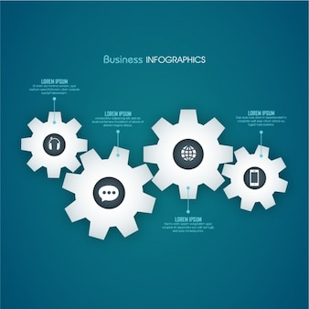Business infographic with four gears