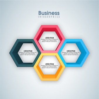 Business infographic with four hexagons in different colors
