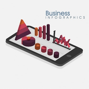 Business infographic with mobile phone and charts in purple tones