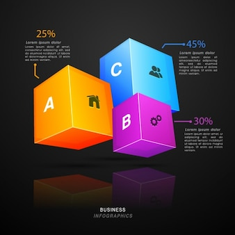 Business infographic with three 3d cubes