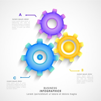 Business infographic with three colorful gears