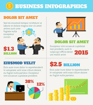 Business infographics with cartoon characters
