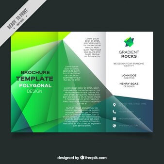 Business leaflet template with geometric forms in green tones