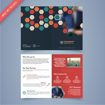 Business leaflet template with geometric forms