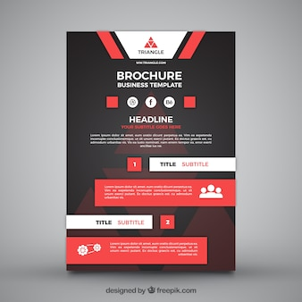 Business leaflet template with red elements