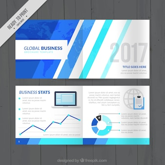 Business leaflet with blue stripes