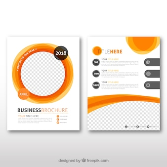 Business leaflet with orange elements