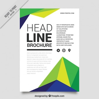 Business leaflet with polygons in different colors