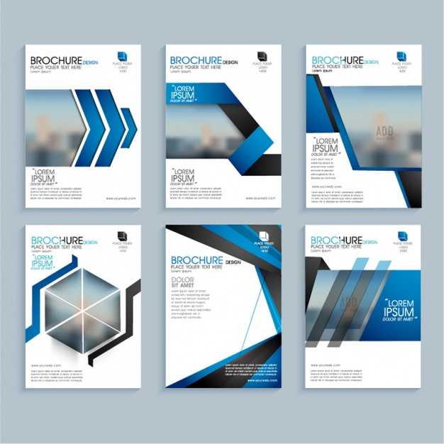 Business leaflets with geometric blue shapes