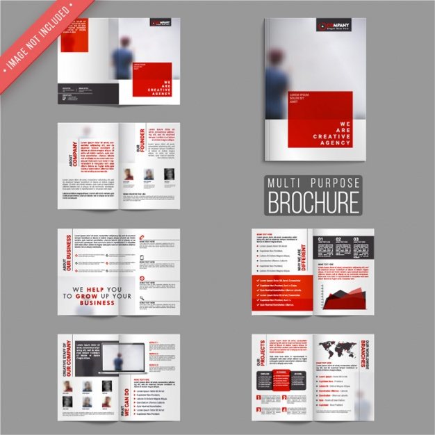 Business leaflets with red elements