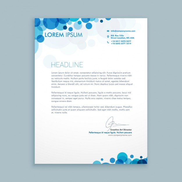Business letter with blue circles