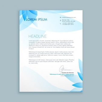 Business letter with blue flowers