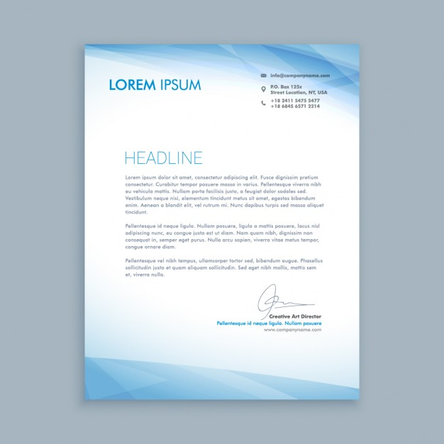 Business letter with blue shapes
