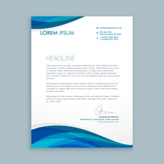 Business letter with blue waves