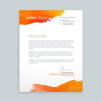 Business letter with orange ink stains