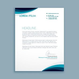 Business letter with waves in blue tones