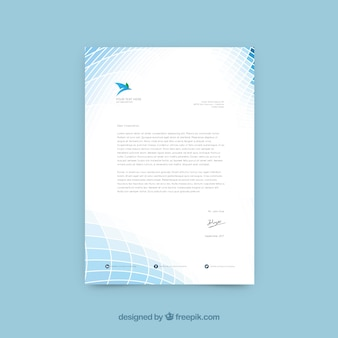 Business letterhead with abstract shapes