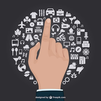 Business man hand touching a circle made of daily life icons